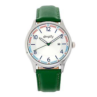 Simplifique o relógio 6900 Leather-Band w/Date-verde