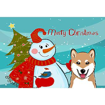 Carolines Treasures  BB1845PLMT Snowman with Shiba Inu Fabric Placemat