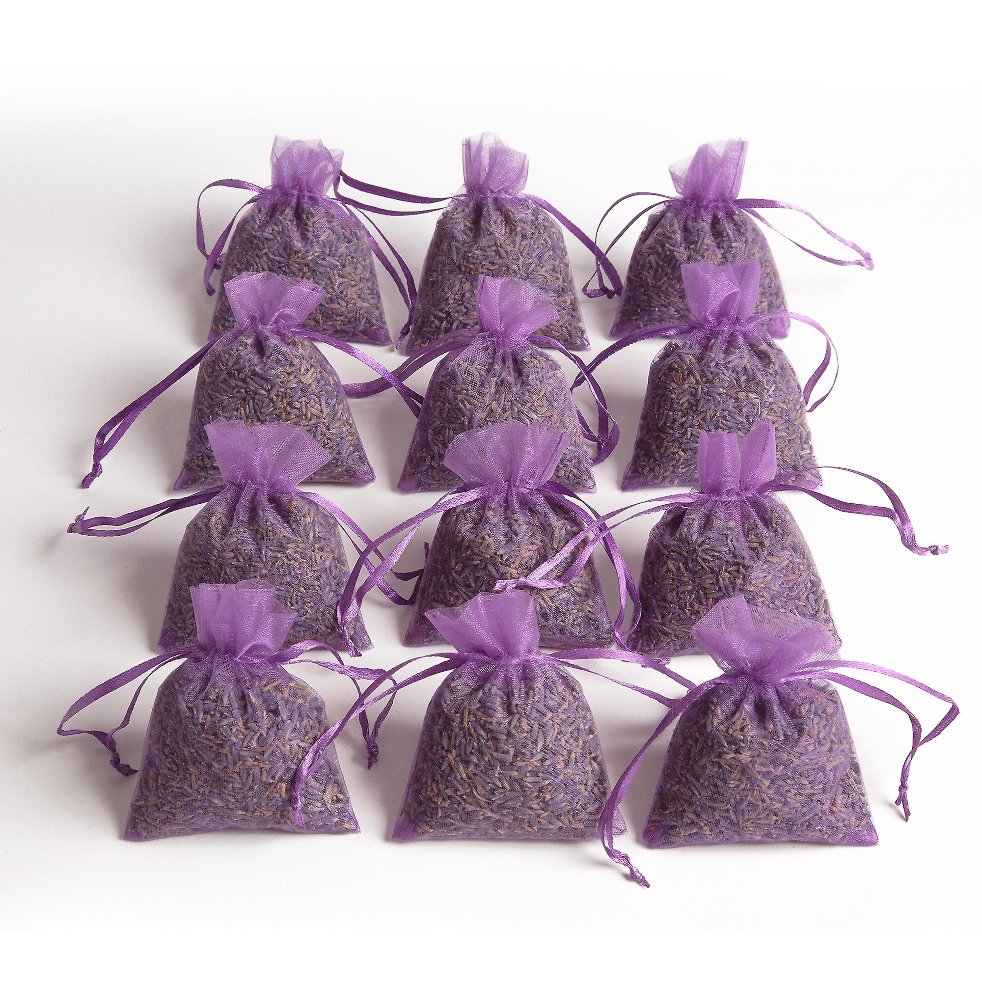 12 Lavender Bags Purple Dried Lavender Room Scent with Lavender Flowers as Moth Protection and Car Scent