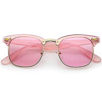 Lentifumé Half-Frame Occhiali da sole cerchiati di corno trasparente colorato 49mm