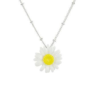 Eternal Collection Dainty Daisy White Multi Enamel Silver Tone Flower Pendant