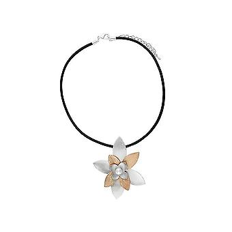 Fable Womens/Ladies Two Tone Chunky Floral Leather Necklace