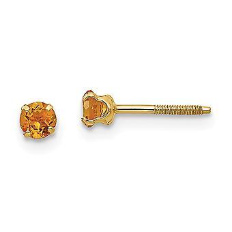 14k sárga arany polírozott csavar vissza Post fülbevaló 3mm Citrine fiúknak vagy lányoknak fülbevaló intézkedések 4x4mm