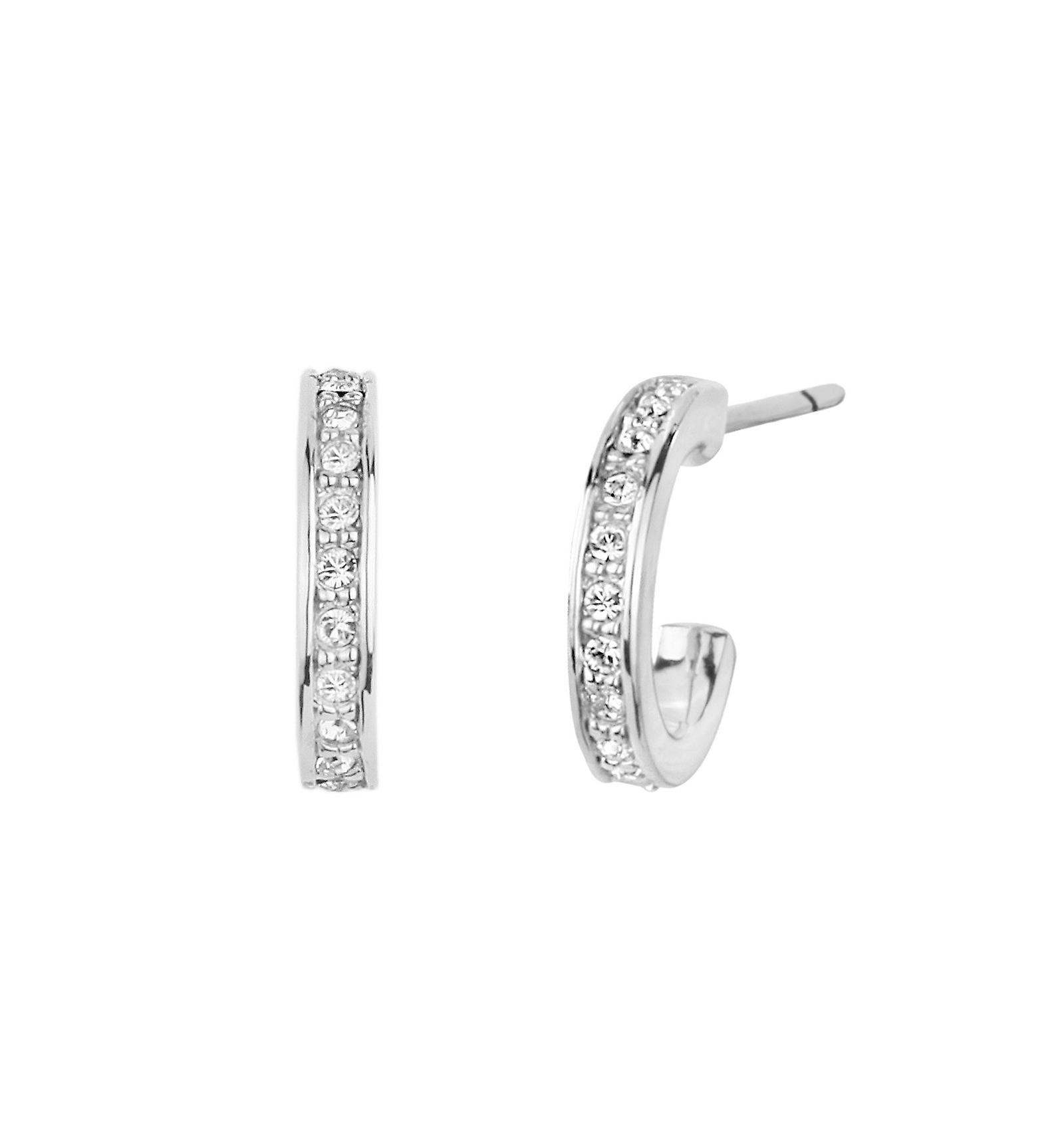 Traveller hoop earring - rhodium plated - Swarovski Crystals - 11mm - 157122