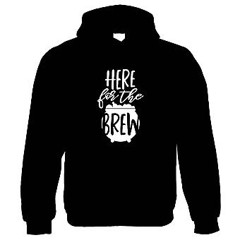 Here For The Brew Hoodie | Halloween Fancy Dress Costume Trick Or Treat | Hallows Eve Ghost Pumpkin Witch Trick Treat Spooky | Halloween Gift Him Her Birthday