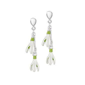 Eeuwige collectie voorjaar snowdrop wit emaille zilveren Toon drop schroef terug clip op oorbellen