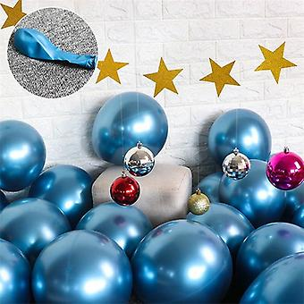 10x Glossy pearl inflatable chrome balloons metallic blue