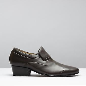 Club Cubano Carluccio Mens Leather Cuban Heel Shoes Brown