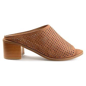 Brinley Co. Womens Zess Faux Nubuck Open-Toe Perforated Mules