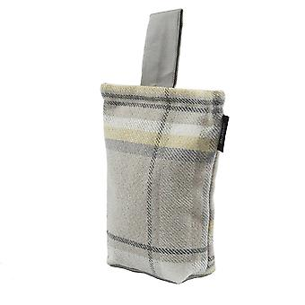 Mcalister textiles heritage tartan mustard yellow + grey fabric door stop
