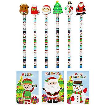 Lápices de Navidad, Borradores y Cuadernos - Pack de 30