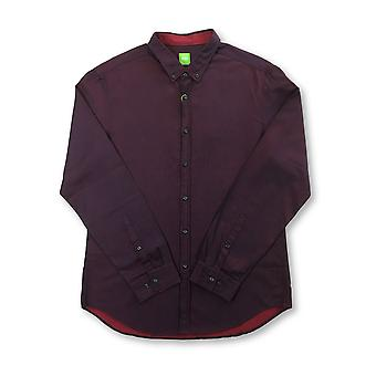 HUGO BOSS Baldasar slim fit cotton shirt in iridescent maroon fleck