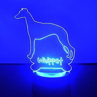 Whippet hunden farge skiftende LED akryl lys