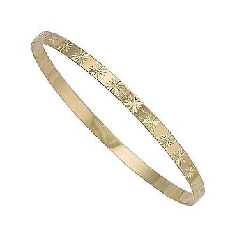 Eeuwigheid 9ct Gold Diamond Cut ronde slaaf Bangle
