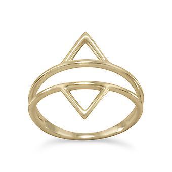 14k Gld blinket 925 Sterling Sølv Dobbel Trekant Ring Split Band Design er 17.5mm Bred Over Topp S Smykker Gaver for