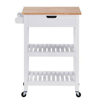 Charles Bentley Wooden Kitchen Trolley Worktop Shelf Storage Island Cart on Wheels 84.5x64x39cm- White
