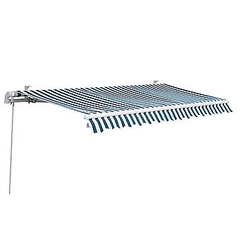 Outsunny 3 x 2.5 m Garden Patio Manual Awning Canopy Sun Shade Shelter with Winding Handle - Green/White