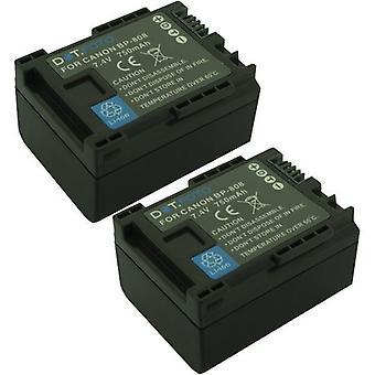 2 x Dot.Foto BP-807, BP-808, BP-809 PREMIUM 7.4v / 750mAh Substituição Recarregável Bateria camcorder para Canon [Ver Descrição para compatibilidade]