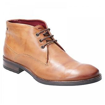 Base London Tan Leather Bramley Burnished Lace Up Ankle Boots