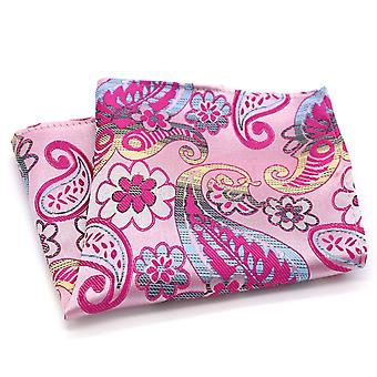 Pink & yellow swirl pattern designer look pocket square