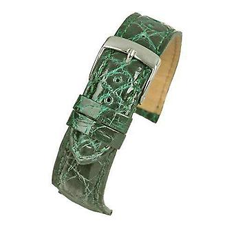 Genuine italian crocodile watch strap emerald green size 18mm and 20mm