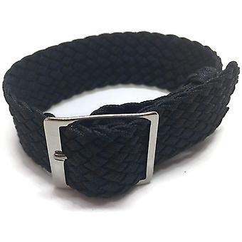 Perlon horlogeband zwart 20mm met gepolijste roestvrijstalen gesp