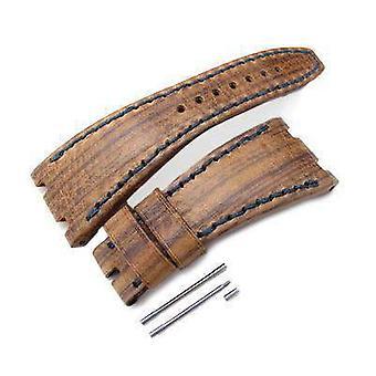 Strapcode en cuir bracelet cuir cuir cuir en bois brun de la sangle de montre d'art