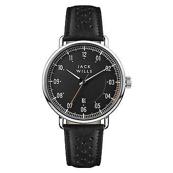 Jack Wills Watches Jw003bkbk Acland Silver & Black Leather Men's Watch