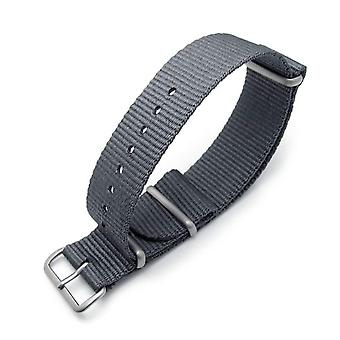 Strapcode n.a.t.o watch strap miltat 22mm g10 military  ballistic nylon armband, brushed - military grey