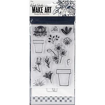 Wendy Vecchi gör konststämpel, die & Stencil Set - Blomkruka
