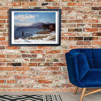 Albert Bierstadt - Lake Tahoe in winter Poster Print Giclee