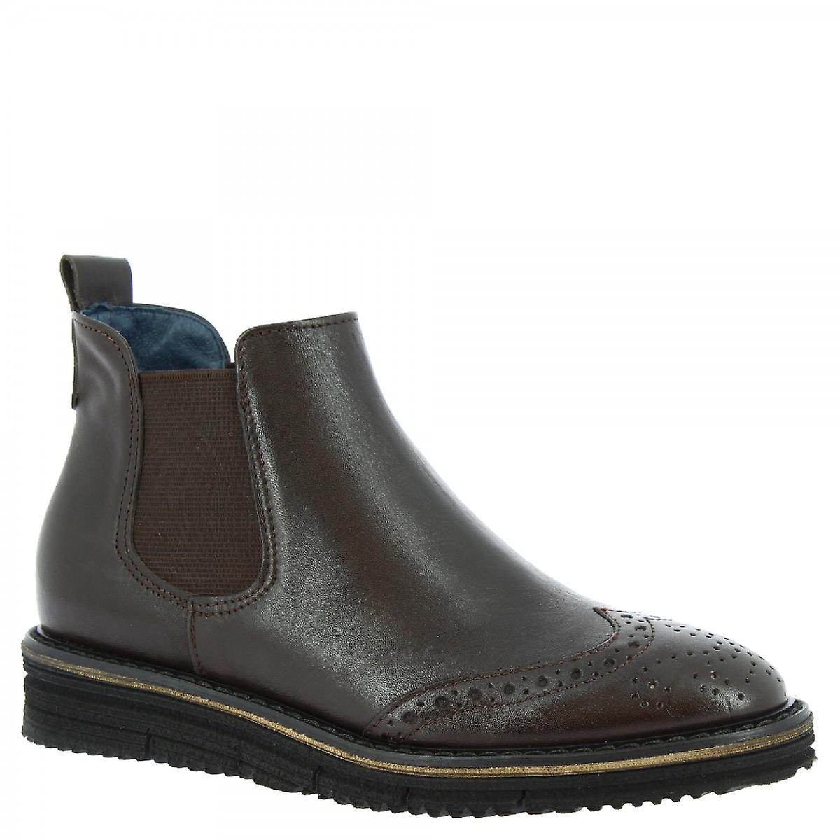 Leonardo Shoes Women's handmade brogues ankle boots in dark brown calf leather UidDL