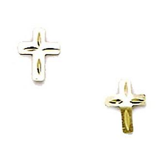 14k Yellow Gold Small Religious Faith Cross Stamping for boys or girls Earrings Measures 6x5mm