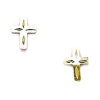 14k Sárga Arany Kis Vallási Hit Cross Bélyegzés a fiúk vagy lányok fülbevaló intézkedések 6x5mm