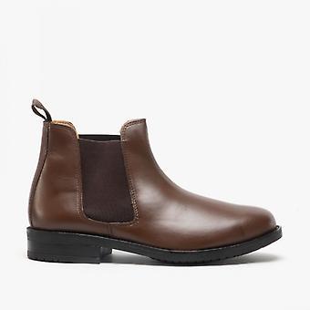 Roamers Archie mens Twin Gusset gewatteerde lederen Chelsea Boots bruin