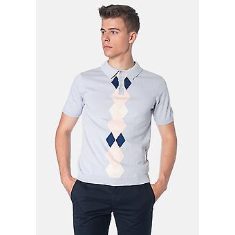 Merc ANSELL, Argyle Pattern Knitted Men's Polo Shirt