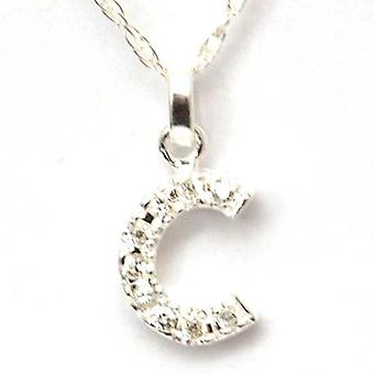 TOC Sterling Silver Clear Rhinestone Set Large Initial 'C' Pendant Necklace 18
