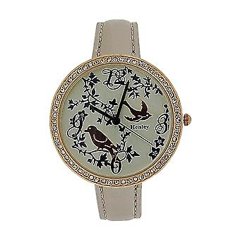 Henley Ladies Two Tone Rose Goldtone Feathery Friends Pearlised Strap Watch H06072.5
