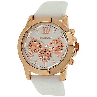 Henley Ladies Analogue Chrono effect Dial White Rubber Strap Watch H06099.4