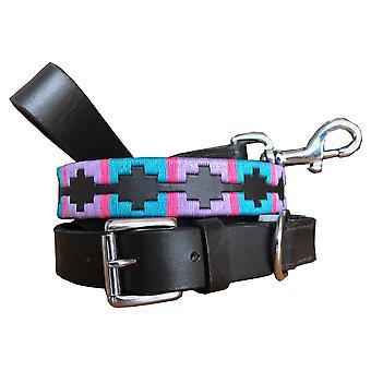 Carlos diaz genuine leather  polo dog collar and lead set cdhkplc82