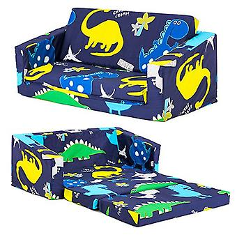 Ready Steady Bed Kids Children Mini Fold Out Lounger | Kinderbank stoel stoel | Ideaal voor Playroom kidsroom Woonkamer | Ergonomisch ontworpen (Dino Dark)