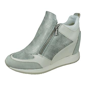 Geox D Nydame E Womens Leather Wedged Trainers / Boots - Light Grey