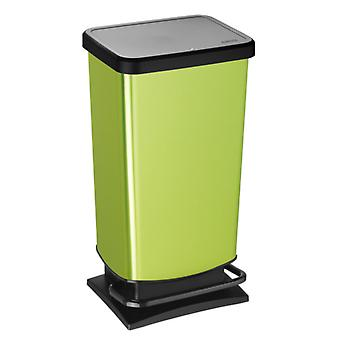 ROTHO Pedal bucket PASO 40 litre square green metallic | Garbage bins for easy waste disposal
