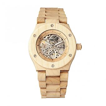 Earth Wood Grand Mesa Automatic Skeleton Bracelet Watch - Khaki/Tan
