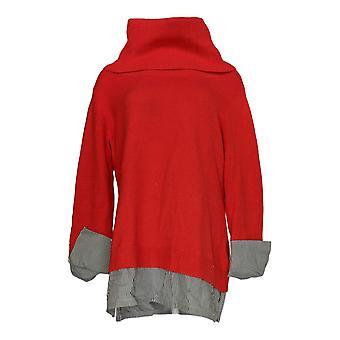 Du Jour Women's Sweater Turtleneck Sweater Tunic Striped Red A344818