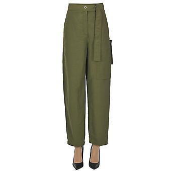 Acne Studios Ezgl151058 Women's Green Linen Pants