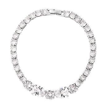 KARIS 11.42 Ct White Cubic Zirconia Tennis Bracelet en ton argenté pour femmes