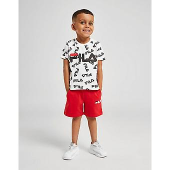 New Fila Infant Otis All Over Print T-Shirt/Shorts Set White