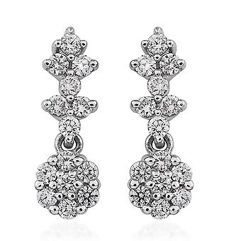 RHAPSODY Platinum White Diamond Flower Earrings for Women IGI Certified, 0.5 Ct