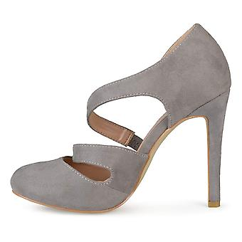 Brinley Co Womens Round Toe Faux Suede Crossover Strap High Heels